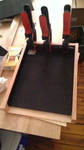 Interior with foam and felt padding during glue up